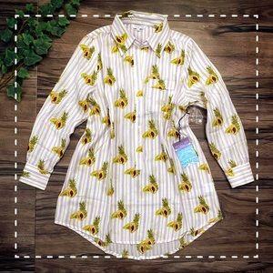 Violet Sky sheer pineapple papaya striped shirt
